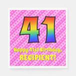[ Thumbnail: 41st Birthday: Pink Stripes & Hearts, Rainbow # 41 Napkins ]