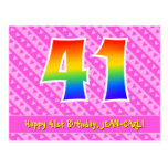 [ Thumbnail: 41st Birthday: Pink Stripes & Hearts, Rainbow 41 Postcard ]