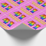 [ Thumbnail: 41st Birthday: Pink Stripes & Hearts, Rainbow # 41 Wrapping Paper ]