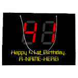"[ Thumbnail: 41st Birthday: Red Digital Clock Style ""41"" + Name Gift Bag ]"