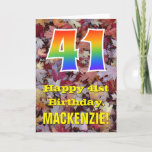"[ Thumbnail: 41st Birthday; Rustic Autumn Leaves; Rainbow ""41"" Card ]"