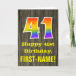 "[ Thumbnail: 41st Birthday: Rustic Faux Wood Look, Rainbow ""41"" Card ]"