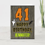 [ Thumbnail: 41st Birthday: Spooky Halloween Theme, Custom Name Card ]