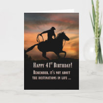 41st Cowboy and Horse Country Western Birthday Card