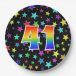 [ Thumbnail: 41st Event: Bold, Fun, Colorful Rainbow 41 Paper Plate ]