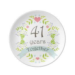 41st Wedding Anniversary Keepsake Gift Plate