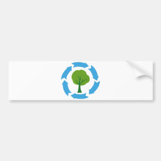 4209-Eco-Banner-With-Green-Tree CAUSES ENVIROMENT Bumper Sticker