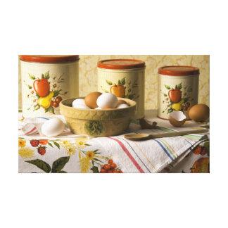 4237 Eggs in Crockery Bowl Still Life Canvas Print