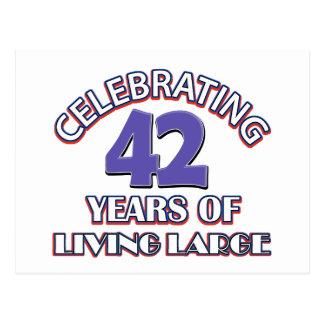 42 años de diseños grandes de vida del cumpleaños postal