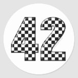 42 checkered number classic round sticker