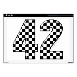 "42 checkered number decal for 17"" laptop"
