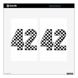 42 checkered number decal for kindle fire