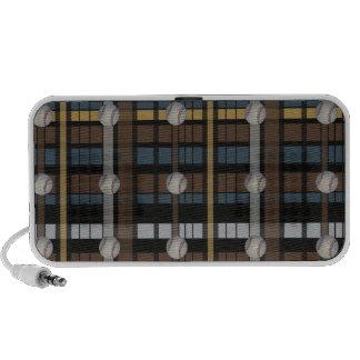 42. Diseño gris negro del béisbol de la tela escoc Laptop Altavoces