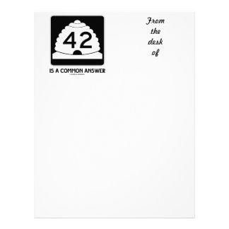 42 es una respuesta común (el humor de la muestra) membrete