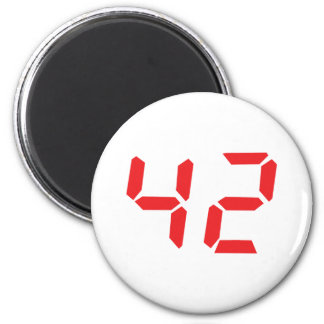42 fourty-two red alarm clock digital number 2 inch round magnet