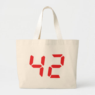 42 fourty-two red alarm clock digital number bags