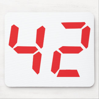 42 fourty-two red alarm clock digital number mouse pad