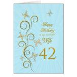 42.o cumpleaños de la esposa con las mariposas de  felicitacion