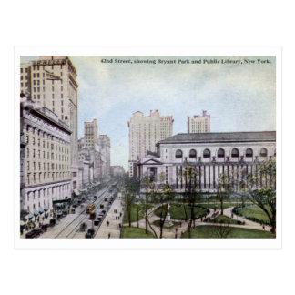 42.o St., parque de Bryant, vintage de New York Postales