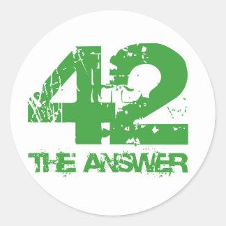 42 son los pegatinas de la respuesta pegatina redonda