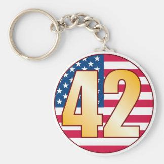 42 USA Gold Basic Round Button Keychain