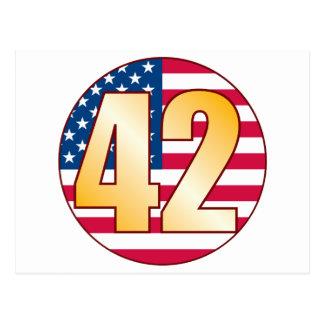 42 USA Gold Postcard