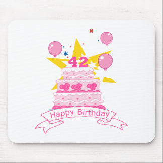 42 Year Old Birthday Cake Mouse Pad