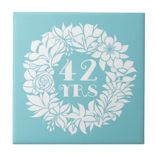 42nd Anniversary White Floral Wreath Keepsake Gift Ceramic Tile