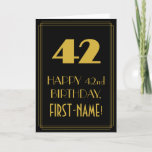 """[ Thumbnail: 42nd Birthday – Art Deco Inspired Look """"42"""" & Name Card ]"""