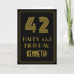 "[ Thumbnail: 42nd Birthday: Art Deco Inspired Look ""42"" & Name Card ]"