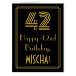 """[ Thumbnail: 42nd Birthday: Art Deco Inspired Look """"42"""" + Name Card ]"""
