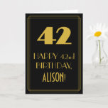 """[ Thumbnail: 42nd Birthday ~ Art Deco Inspired Look """"42"""" & Name Card ]"""