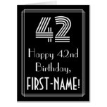"""[ Thumbnail: 42nd Birthday — Art Deco Inspired Look """"42"""" + Name Card ]"""