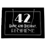 "[ Thumbnail: 42nd Birthday: Art Deco Inspired Style ""42"", Name Gift Bag ]"