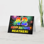 [ Thumbnail: 42nd Birthday: Bold, Fun, Fireworks, Rainbow 42 Card ]