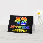 [ Thumbnail: 42nd Birthday: Bold, Fun, Simple, Rainbow 42 Card ]