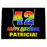 [ Thumbnail: 42nd Birthday: Bold, Fun, Simple, Rainbow 42 Gift Bag ]