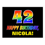 [ Thumbnail: 42nd Birthday: Bold, Fun, Simple, Rainbow 42 Postcard ]