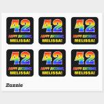 [ Thumbnail: 42nd Birthday: Bold, Fun, Simple, Rainbow 42 Sticker ]