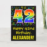 [ Thumbnail: 42nd Birthday: Colorful Music Symbols + Rainbow 42 Card ]