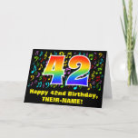 [ Thumbnail: 42nd Birthday: Colorful Music Symbols & Rainbow 42 Card ]