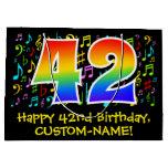 [ Thumbnail: 42nd Birthday - Colorful Music Symbols, Rainbow 42 Gift Bag ]