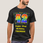 [ Thumbnail: 42nd Birthday: Colorful Music Symbols, Rainbow 42 T-Shirt ]