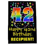 [ Thumbnail: 42nd Birthday: Colorful Stars Pattern & Rainbow 42 Gift Bag ]