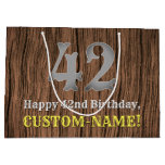 [ Thumbnail: 42nd Birthday: Country Western Inspired Look, Name Gift Bag ]