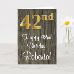 [ Thumbnail: 42nd Birthday: Elegant Faux Gold Look #, Faux Wood Card ]