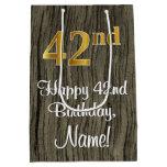 [ Thumbnail: 42nd Birthday: Elegant Faux Gold Look #, Faux Wood Gift Bag ]