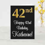 [ Thumbnail: 42nd Birthday ~ Elegant Luxurious Faux Gold Look # Card ]