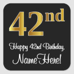 [ Thumbnail: 42nd Birthday – Elegant Luxurious Faux Gold Look # Sticker ]