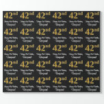 [ Thumbnail: 42nd Birthday: Elegant Luxurious Faux Gold Look # Wrapping Paper ]
